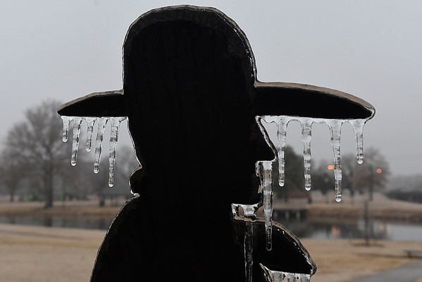 Icicles hang fron a silhouette at Government Springs Park Sunday January 15, 2017. (Billy Hefton / Enid News & Eagle)