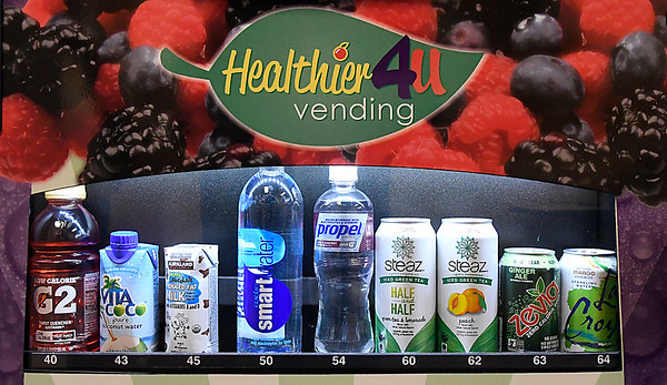 Healthier items in a vending machine at the fitness center at Vance Air Force Base Friday January 20, 2017. (Billy Hefton / Enid News & Eagle)