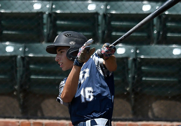 Enid Majors' Camden Kauk connects on a base hit against the Albuquerque Cage Rats scores during an elimination game in the Connie Mack Regional Tournament Thursday July 20, 2017 at David Allen Memorial Ballpark. (Billy Hefton / Enid News & Eagle)