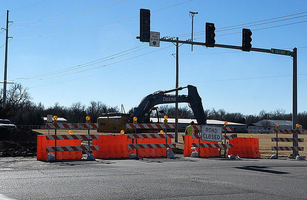 Cleveland street was closed at the Chestnut intersection January 16, 2017. The closure is for relocation of water lines to facilitate the proposed street widening project. (Billy Hefton / Enid News & Eagle)