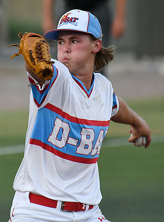 D-BAT Gowins starting pitcher, Colton Bowman, delivers a pitch against the Albuquerque Cage Rats during the Connie Mack South Plains Regional Tournament at David Allen Memorial Ballpark July 22, 2017. (Billy Hefton / Enid News & Eagle)