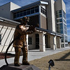 "The statue ""Every Day a Hero"" by Colette Pitcher stands in front of the new central fire station in Woodward. (Billy Hefton / Enid News & Eagle)"