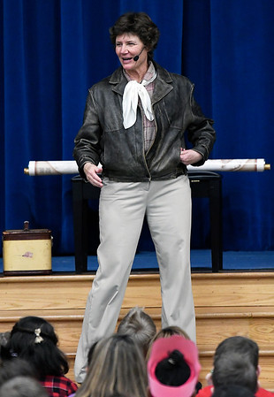 Elsa Wolff performs as Amelia Earhart for students at Prairie View Elementary Friday February 3, 2017 as part of the Winter Chautuaqua in the Schools program. (Billy Hefton / Enid News & Eagle)