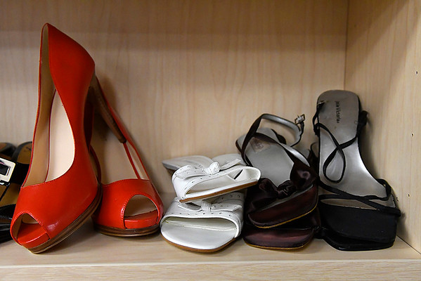 Some of the shoes that has been donated to the YWCA's Project Cinderella. (Billy Hefton / Enid News & Eagle)