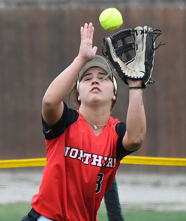 NOC Enid's Tori Danielson makes a catch in right field against Eastern CC Saturday March 25, 2017 at Failing Field on the NOC Enid campus. (Billy Hefton / Enid News & Eagle)