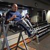 Enid police officer Steve Jacobi works out the gym at the Enid Police department. (Billy Hefton / Enid News & Eagle)