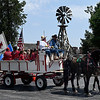 A wagon full of Wildhorse Gang members arrive at the Cherokee Strip Regional Heritage Center Wednesday May 31, 2017 commemorating the 150th anniversary of the Chisholm Trail. (Billy Hefton / Enid News & Eagle)