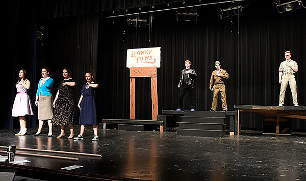"Members of the Eind High production of ""All Shook Up"" rehearse Wednesday April 19, 2017 at the Enid High School auditorium. (Billy Hefton / Enid News & Eagle)"