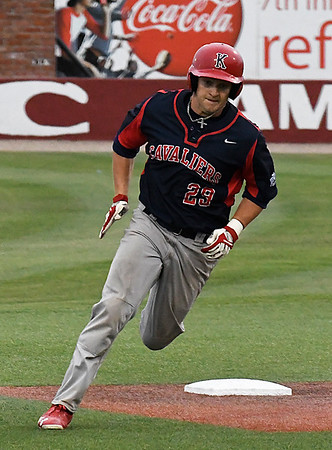 Kankakee CC's Thomas Wolken rounds second base against Mercer CC in the 2017 NJCAA DII World Series Friday June 2, 2017 at David Allen Memorial Ballpark. (Billy Hefton / Enid News & Eagle)