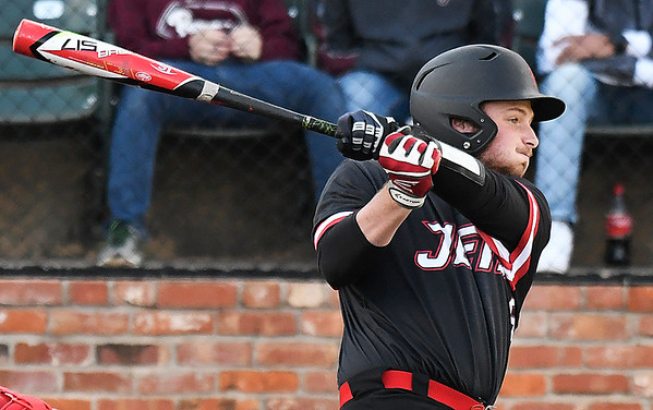 NOC Enid's Wesley O' Neill hits a single against NOC Tonkawa Saturday April 22, 2017 at David Allen Memorial Ballpark. (Billy Hefton / Enid News & Eagle)