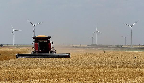 A combine harvest a field southeast of Kremlin Wednesday June 14, 2017. (Billy Hefton / Enid News & Eagle)