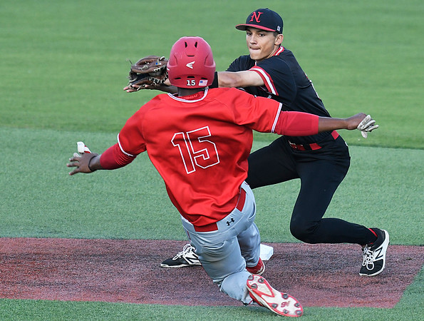 NOC Enid's T.J. Black tags out NOC Tonkawa's Nic Minor at second base Saturday April 22, 2017 at David Allen Memorial Ballpark. (Billy Hefton / Enid News & Eagle)