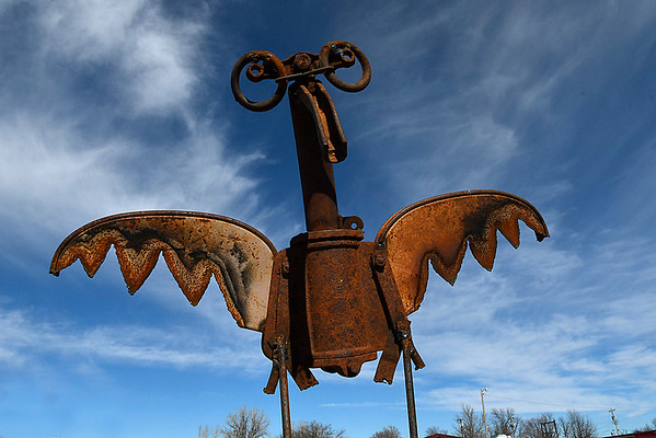 A metal sculpture of a bird by Kelly Kurtz at Antiques-n-Things in Lahoma Saturday january 28, 2017. (Billy Hefton / Enid News & Eagle)