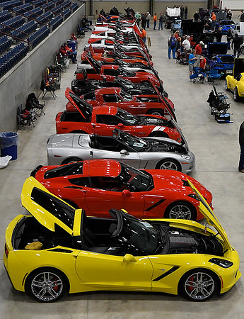 A line of Corvettes at the Enid Corvette Expo Saturday April 1, 2017 at the Chisholm Trail Expo Center. (Billy Hefton / Enid News & Eagle)