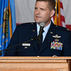 Col. Fred Cunningham, Vice-Wing Commander Vance Air Force Base, gives the keynote address during Memorial Day ceremonies at the Woodring Wall of Honor Monday May 29, 2017. (Billy Hefton / Enid News & Eagle)