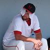 NOC Enid pitcher, Colton Thompson, cools down between innings during the Region 2 tournament against Murray State Monday May 15, 2017 at David Allen Memorial Ballpark. (Billy Hefton / Enid News & Eagle)