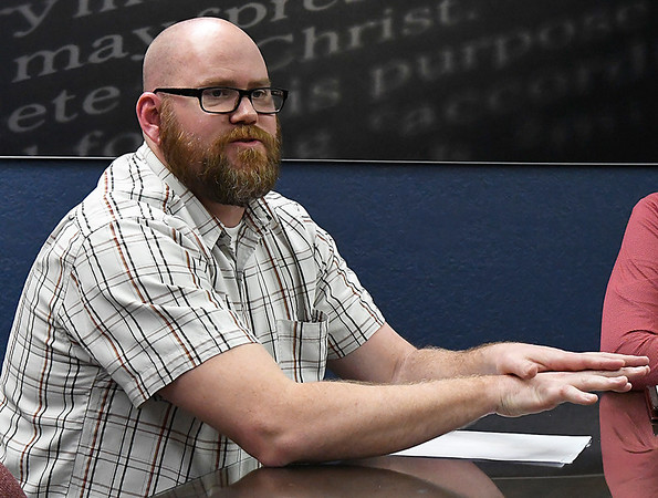 Oklahoma Bible Academy teacher Ryan Reese during an interview Friday February 17, 2017. (Billy Hefton / Enid News & Eagle)