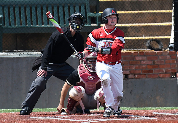 NOC Enid's Wesley O'Neil hits a triple against Redlands CC Thursday May 4, 2017 at David Allen Memorial Ballpark. (Billy Hefton / Enid News & Eagle)