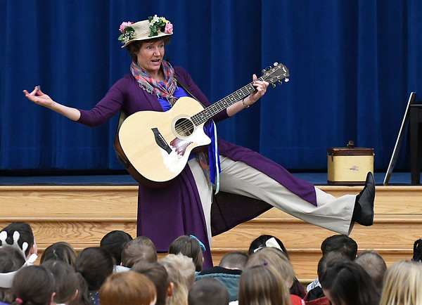 Elsa Wolff performs as The Guitar Lady for students at Prairie View Elementary Friday February 3, 2017 as part of the Winter Chautuaqua in the Schools program. (Billy Hefton / Enid News & Eagle)