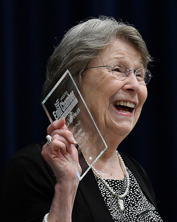 Willa Jo Fowler laughs as she addresses the audience after being named the 2017 Enid Chamber of Commerce Volunteer of the Year during the Chamber of Commerce's annual awards banquet Tuesday June 13, 2017 at the Central National Bank Center. (Billy Hefton / Enid News & Eagle)