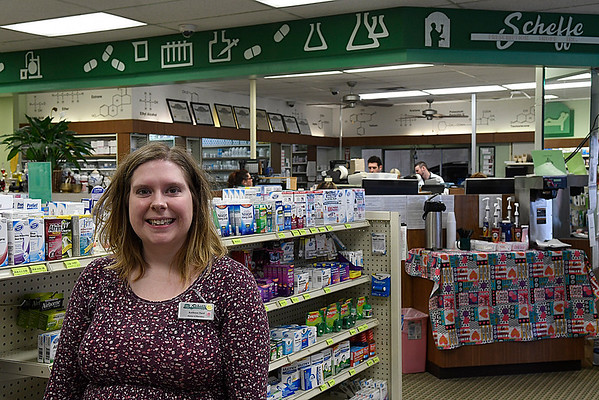 Kathryn Oard of Scheffe Prescription Shop Friday January 20, 2017. (Billy Hefton / Enid News & Eagle)