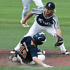 Enid Majors' Seth Graves waits on the ball to tag Kinner Brasher of the Ft. Smith Kerwins Friday June 23, 2017 at David Allen Memorial Ballpark. (Billy Hefton / Enid News & Eagle)