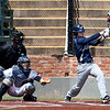 Enid's Koby Hudson hits a RBI double against Edmond North Saturday April 8, 2017 during the Gladys Winters Tournament at David Allen Ballpark. (Billy Hefton / Enid News & Eagle)