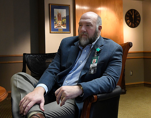 Eddie Herrman, administrator at Integris Bass Baptist Health Center, talks the challenges facing hospitals during an interview January 19, 2017. (Billy Hefton / Enid News & Eagle)