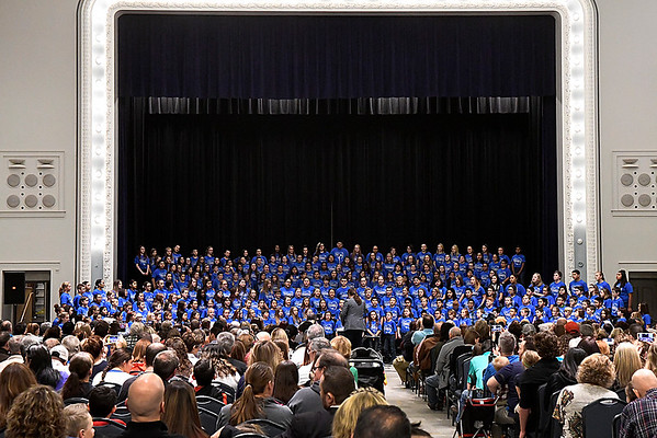 The chior performs during the 2017 Region B Circle the State with Song Choral Festival Tuesday January 10, 2017 at the Convention Hall inside the Central National Bank Center. (Billy Hefton / Enid News & Eagle)