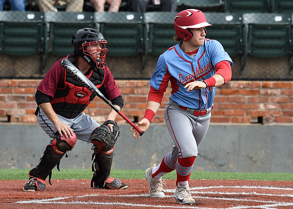 Chisholm's Brice Snapp drives in a run against Vici during the Merrifield Office Plus Invitational Friday April 14, 2017 at David Allen Memorial Ballpark. (Billy hefton / Enid News & Eagle)