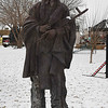 """The Harold Holden sclupture """"Keeper of the Plains"""" wearing a knitted hat Friday January 6, 2017. (Billy Hefton / Enid News & Eagle)"""