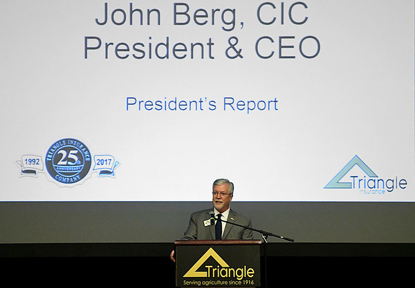 John Berg, CIC President & CEO, gives his President's Report during the 101st annual meeting of the Triangle Cooperative Service Company Thursday April 20, 2017 at the Central National Bank Center. (Billy Hefton / Enid News & Eagle)