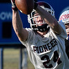 Pioneer's Braden Hoy makes a catch during a passing camp at Covington-Douglas High School Thursday June 29, 2017. (Billy Hefton / Enid News & Eagle)