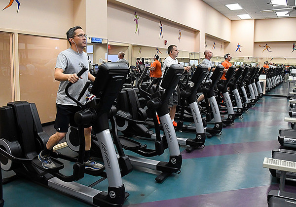 Personnel work out at the fitness center at Vance Air Force Base Friday January 20, 2017. (Billy Hefton / Enid News & Eagle)