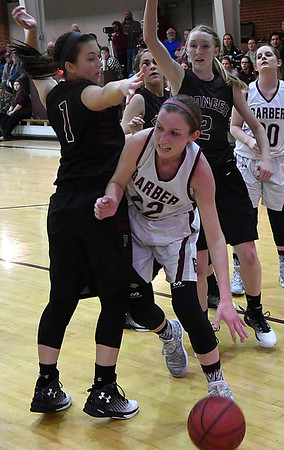 Garber's Jenni Beebe tries to dribble around Pioneer's Rylie Schneider Tuesday January 31, 2017 at Garber High School. (Billy Hefton / Enid News & Eagle)