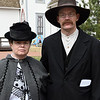 Nolan and Monica Sump pose for a photo as Joseph and Sarah McCoy (who they are portraying) would have posed over a hundred years ago during the Chisholm Trail 150 Festival Saturday April 1, 2017 at the Cherokee Strip Regional Heritage Center. (Billy Hefton / Enid News & Eagle)