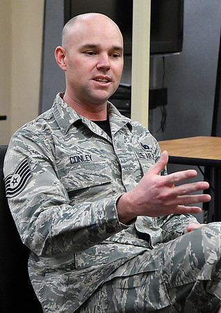 SSgt. Heath Conley talks about earning his Associate Dergree at the Vance Air Force Base Education Office during an interview Friday February 17, 2017. (Billy Hefton / Enid News & Eagle)