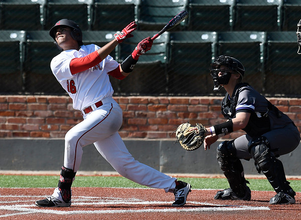 NOC Enid's Carlos Andujar hits the first of two home runs in the first game of a doubleheader against Ellsworth CC Thursday March 9, 2017 at David Allen Ballpark. (Billy Hefton / Enid News & Eagle)