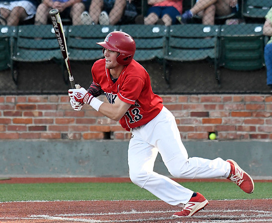 Kankakee's Matthew Littrell heads to first with a base hit against Pitt CC during an elimination in the 2017 NJCAA DII World Series at David Allen Memorial Ballpark Tuesday May 30, 2017. (Billy Hefton / Enid News & Eagle)