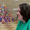 Math teacher, Andrea Balay, talks about students building Sierpinski triangles during the Upward Bound Summer Academy Thursday June 29, 2017. (Billy Hefton / Enid News & Eagle)