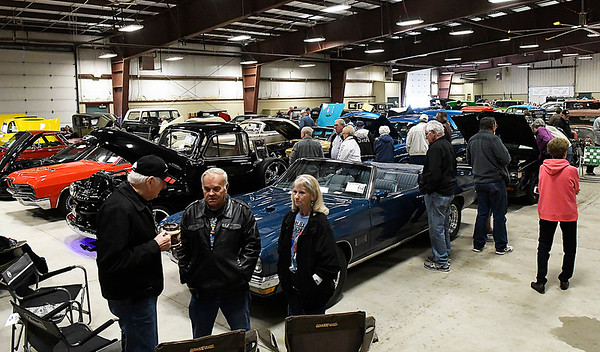 Visitors to the Boy Scouts of America Car Show Saturday March 25, 2017 at the Chisholm Trail Expo Pavillon. (Billy Hefton / Enid News & Eagle)