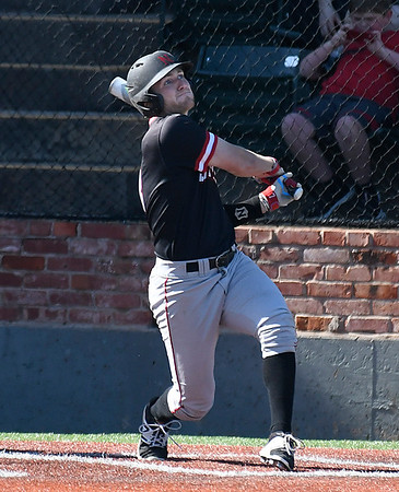 NOC Enid's Wade Hanska hits a double against Murray State during the Region 2 tournament Friday May 12, 2017 at David Allen Memorial Ballpark. (Billy Hefton / Enid News & Eagle)