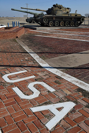 U.S.A. set into the bricks at the Helena Veteran's Memorial Saturday February 4, 2017. (Billy Hefton / Enid News & Eagle)