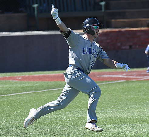 Lansing CC's Garrett Hammer circles the bases after hitting a 3-run walk off homerun in the bottom of the 9th inning to beat Murray State 11-9 in the 2017 NJCAA DII World Series Sunday May 28, 2017 at David Allen Memorial Ballpark. (Billy Hefton / Enid News & Eagle)