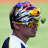 Alfredo Villa of Phoenix CC wears rally glasses during an elimination game in the 2017 NJCAA DII World Series at David Allen Memorial Ballpark Tuesday May 30, 2017. The Bears were eliminated by Lansing CC in a run rule 13-2. (Billy Hefton / Enid News & Eagle)