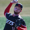NOC Enid starting pitcher, Colton Thompson, delivers a pitch against Hesston Wednesday February 15, 2017 at Failing Field on the NOC Campus. (Billy Hefton / Enid news & Eagle)