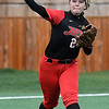 NOC Enid's TKaitlyn Stark makes a throw to first against Murray State Tuesday April 4, 2017 at Failing Field. (Billy Hefton / Enid News & Eagle)