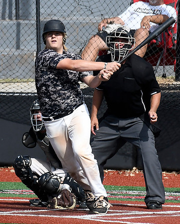 Enid Majors' Carsten Barnett hits a double against Batters Box Gray at NOC's Failing Field Saturday June 17, 2017 during the Connie Mack Regional Qualifing Tournament. (Billy Hefton / Enid News & Eagle)