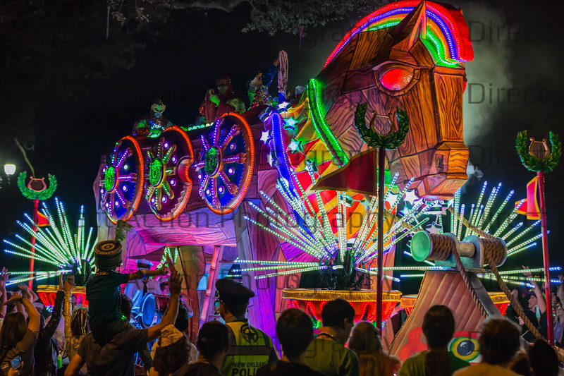 Super Krewe of Orpheus  Mardi Gras 2017 rolls through the streets of New Orleans with their extravagant floats