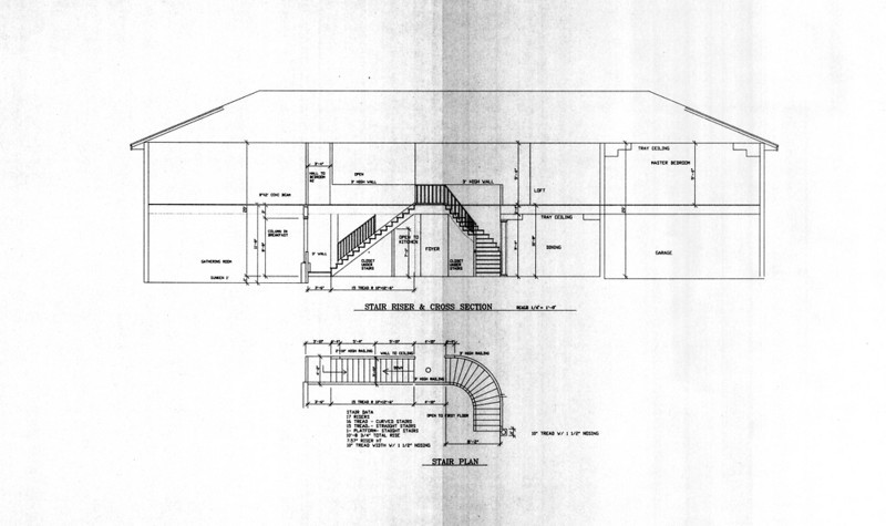 Cross section of both staircases